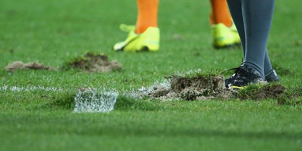 Parts of the turf are seen after a scrum during the round nine Super Rugby match between the Melbourne Rebels and the Cheetahs at AAMI Park. Photo / Getty Images