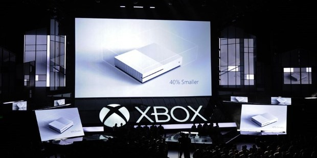 The new Microsoft Xbox One S console is announced during the Microsoft Xbox news conference at the E3 Gaming Conference. Photo / AFP