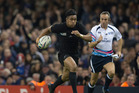 Julian Savea in action for the All Blacks in last year's Rugby World Cup. Photo / Brett Phibbs