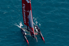 Emirates Team New Zealand practices Friday, June 10, 2016, in Chicago for an America's Cup World Series sailing event, which will be held Saturday and Sunday. (AP Photo/Kiichiro Sato)