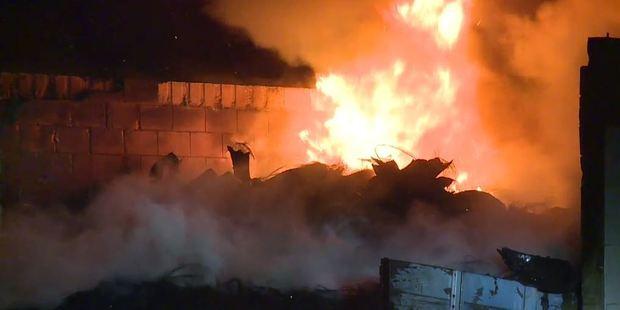 Loading Scene of the blaze in Dunedin overnight. Photo / Shay Dewey