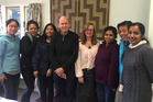 English Language Partners Rotorua tutor, Dick Jarlov and ELPR manager, Anna Hayes with the advanced English class.  Photo/Supplied