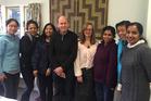English Language Partners Rotorua tutor, Dick Jarlov and ELPR manager, Anna Hayes with the advanced English class.  Photo/Supplied