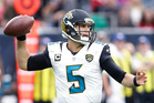 Blake Bortles throws a pass in the pocket agains the Houston Texans. Photo / Getty Images