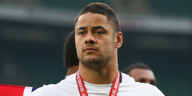 Jarryd Hayne celebrates winning the HSBC World Sevens Series with Fiji in London last month. Photo / Getty Images