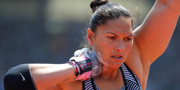Valerie Adams competes in the IAAF Diamond League meeting at Birmingham. Photo / Getty Images