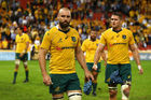 Scott Fardy and James Horwill of the Wallabies look dejected after losing to England. Photo / Getty
