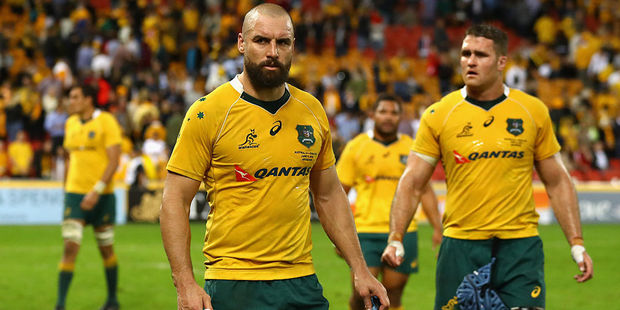 Loading Scott Fardy and James Horwill of the Wallabies look dejected after losing to England. Photo / Getty