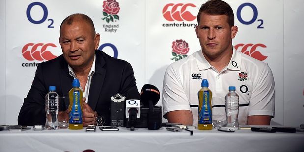 England rugby coach Eddie Jones and captain Dylan Hartley at a press conference.