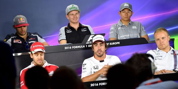 Drivers front the press ahead of the European Grand Prix in Baku, Azerbaijan. Photo / Getty Images
