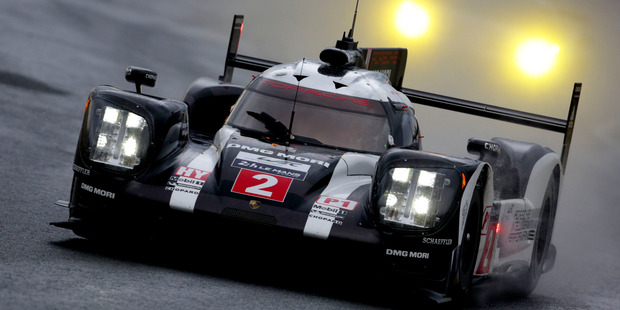 The Porsche of Timo Bernhard, Mark Webber and Brendon Hartley during practice. Photo / Getty Images