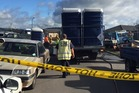 A truck accidentally spilled human waste from port-a-loos in Papamoa this afternoon. Photo/George Novak