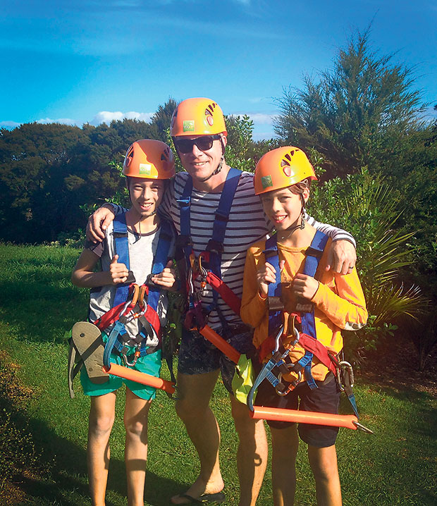 Rob and his sons Johnny and Flynn get ready to zipline.