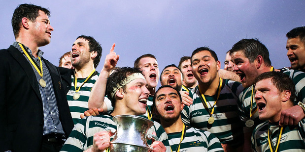 Old-Boys University celebrate after winning the Wellington Club Rugby Jubilee Cup Final match between Old-Boys University and Marist St Pats in 2015. Photo / Getty Images.