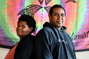 L-R Asel Iamak, Marcel Nalau. Health check education for Vanuatu seasonal horticultural workers. Photo/George Novak