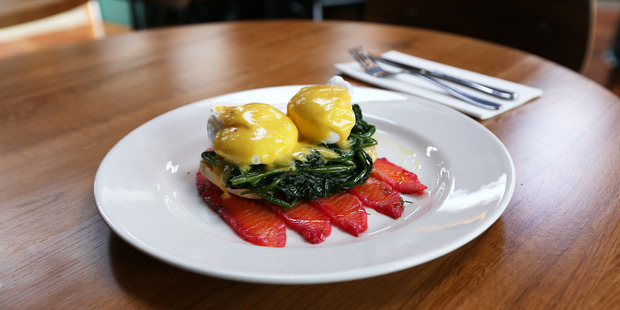 Eggs benedict at Cafe L'affare. Photo / Doug Sherring