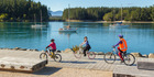 Cycling at Mapua Wharf. Photo / Nelson-Tasman Tourism