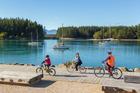 Cycling at Mapua Wharf. Photo / Nelson-Tasman Tourism