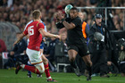 New Zealand All Blacks winger Waisake Naholo loses the ball against Wales during the 1st test match between the All Blacks and Wales. Photo / Brett Phibbs.