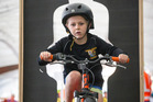 Five year old Angus McCrory tests his skills on the Bike Course at The Great Auckland Bike Market on Sunday in Auckland. Photo / Greg Bowker