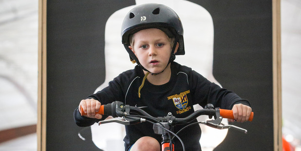 Loading Five year old Angus McCrory tests his skills on the Bike Course at The Great Auckland Bike Market on Sunday in Auckland. Photo / Greg Bowker