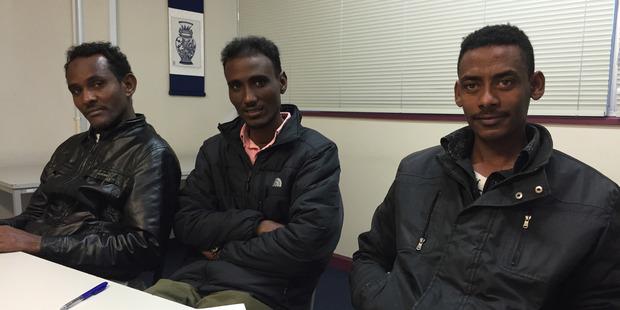 Loading Eritrean refugees Muhyaddin Salih, Sali Ahmed Saharia and Idrees Idrees. Photo / Simon Collins