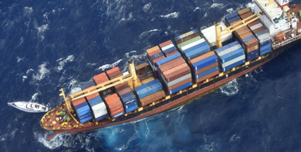 Two men and a woman have been rescued from their battered yacht, Platino, around 550 kilometres north of New Zealand by the crew of the container ship Southern Lily.