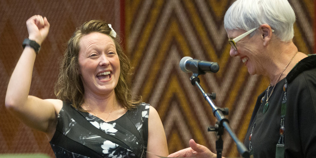 HAPPY: Rotorua's new Kiwi citizen Katie Redfern (left) is happy to now have her New Zealand citizenship, pictured with Rotorua mayor Steve Chadwick. PHOTO/STEPHEN PARKER
