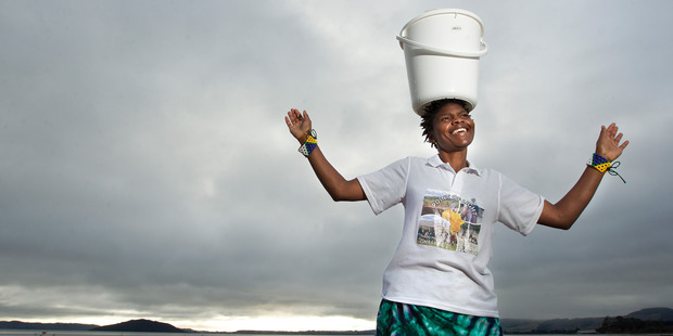 Faustinah Ndlovu is aiming to walk 21km with a 20 litre bucket of water on her head next month, starting at the lakefront. PHOTO/BEN FRASER