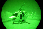The Palmerston North Rescue Helicopter was dispatched Hunterville for a woman who was attacked by a dog. Night vision goggles had to be used in the rescue. Photo / Supplied