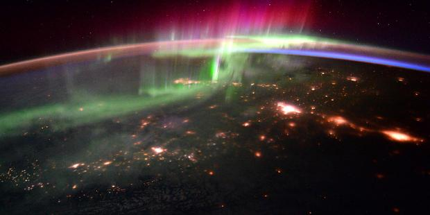 The Northern Lights from space. Photo / Tim Peake