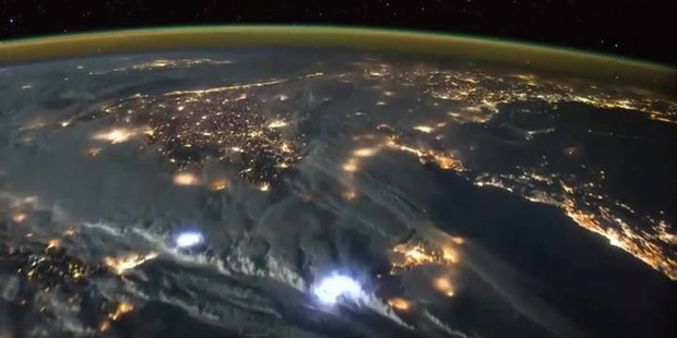 The Earth lit up. Photo / Tim Peake