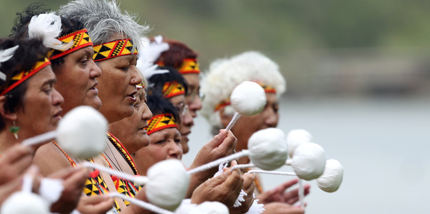 Loading Current members of the Patea Maori Club, which still performs Poi E in action at a recent Waitangi Day (Supplied)