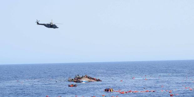 An adapted fishing trawler with more than 600 refugees on board capsized off the Lybian Coast. Photo / Facebook
