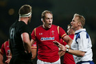 Alun Wyn Jones of Wales makes a case to Referee Wayne Barnes during the International Test match between the New Zealand All Blacks and Wales. Photo / Getty Images.