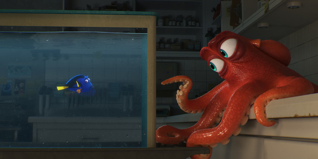 Hank, voiced by Ed O'Neill, right, and Dory, voiced by Ellen DeGeneres, in a scene from Finding Dory. Photo / AP