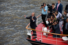 Nigel Farage shows his support for the 'Leavel' campaign on the River Thames. Photo / AP