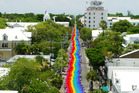 The 'Sea-to-Sea' rainbow flag displayed in Orlando after the shootings. Photo / AP