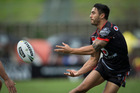 Shaun Johnson of the Warriors in action in the NZ Warriors v Melbourne Storm NRL rugby league match at Mt Smart Stadium. Photo / Jason Oxenham.