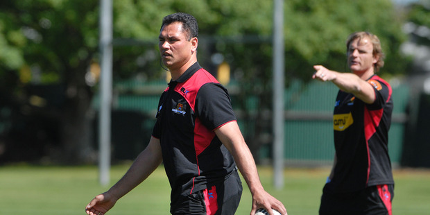 Tabai Matson has been overlooked in favour of Scott Robertson (rear) for the Crusaders head coaching role.