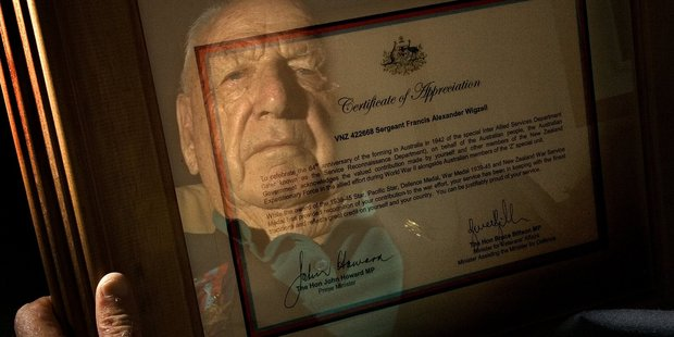 Frank Wigzell with his Certificate of Appreciation from the Australian government for his services in World War II in the highly secret unit called Special Operations Australia. Photo / Brett Phibbs