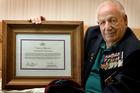 New Zealander Frank Wigzell with his Certificate of Appreciation from the Australian government. Photo / Brett Phibbs