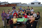 Reva Ngapoe (front), resident, Kilkee Terrace, Hastings, with some of the kids who live there. She has asked Hastings District Council to put a playground on the Kilkee Terrace Reseve at the end of the cul-de-sac, hoping that will stop the kids playing on the street. Photo / Duncan Brown