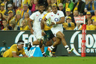 Jonathan Joseph of England breaks with the ball during the International Test match between the Australian Wallabies and England at Suncorp Stadium. Photo / Getty Images
