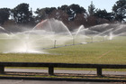 The irrigators at work yesterday on the Park Island sports fields in Napier, as the city again posts one of the country's top temperatures. Council staff say irrigation of sports fields usually ends before the start of the rugby season in late March or early April. Photo / Duncan Brown