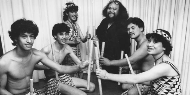 The late Dalvanius Prime (at rear) with members of the Patea Maori Club in 1985 (Herald archive)