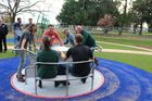 A wheelchair-friendly roundabout is one of the stars of this playground, which was developed mainly for children with disabilities.