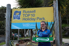 FINALIST: Russell Top 10 Holiday Park, with Becky Tilton pictured celebrating the park becoming smokefree, is a finalist in a national award.PICTURE / SUPPLIED