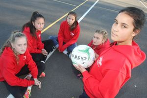 The Year 8 Wairarapa representative netball team are infuriated someone stole their fundraising money at the Colombo Rd netball courts on the weekend. PHOTO/ANDREW BONALLACK