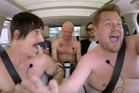James Corden takes a topless ride with The Red Hot Chili Peppers. Photo / YouTube
